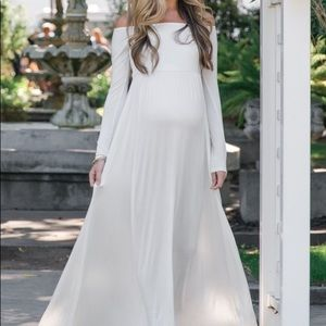 White off the shoulder Pinkblush Maternity dress